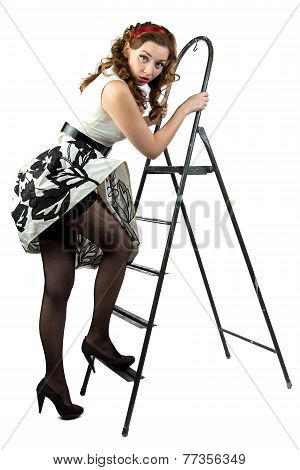 Image pin up woman down the stairs