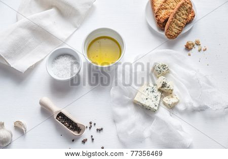 Appetizer With Blue Cheese, Olive Oil And Croutons poster