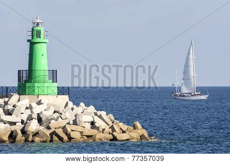 Lighthouse at the harbor entrance