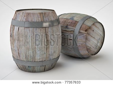 3d render of the beer barrels