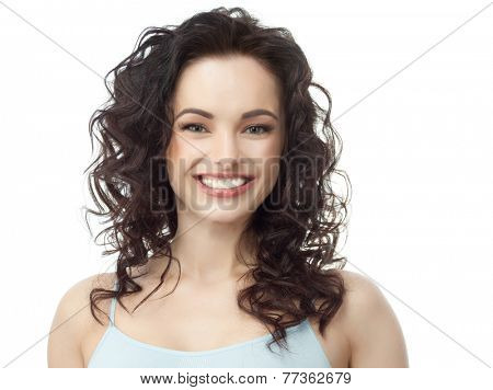 closeup portrait of attractive  caucasian smiling woman brunette isolated on white studio shot lips toothy smile face hair head and shoulders looking at camera tooth