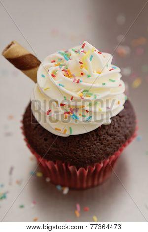 Close Up Of Chocolate Sundae Cupcake
