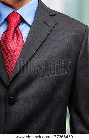 Closeup of a businessman's suit and necktie