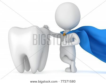 Brave superhero dentist with big white tooth. Isolated on white 3d render. Dental medicine health concept. poster