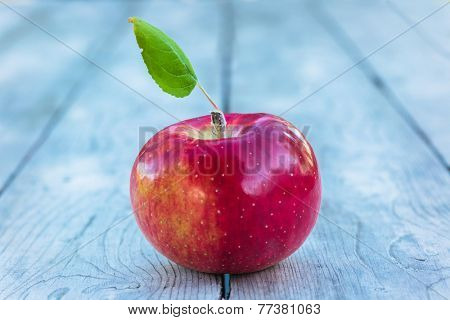 Single Cortland apple on a wooden background.