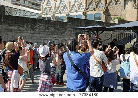 Tourists at Sagrada Familia