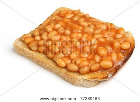 Baked beans on toast, isolated on white.
