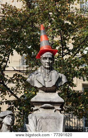 Paris - Sorbonne Square. Monument of Auguste Comte french philosopher poster