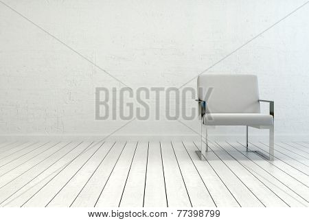 3D Rendering of Conceptual Single Elegant White Chair in an Empty Room with White Wall and Flooring. Captured with Copy Space on the Left Side.