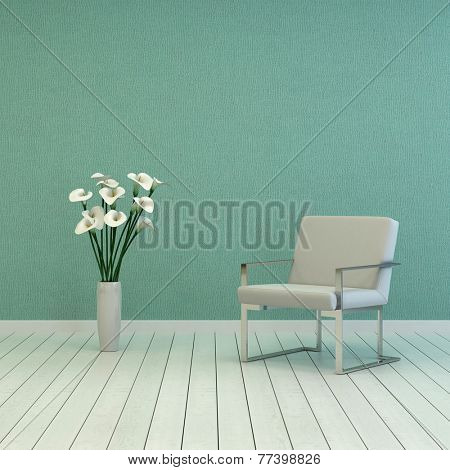3D Rendering of Elegant White Vase, with Fresh White Flowers, and Single White Chair on Empty Room with Green Wall and White Flooring. Captured with Copy Space Above.