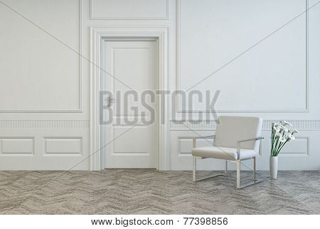 3D Rendering of Conceptual White Elegant Chair and Vase, with Fresh Flowers, Near Single Door at Architectural White Room.