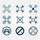 Quadrocopter vector flat icons set -  drone symbols on gray background poster