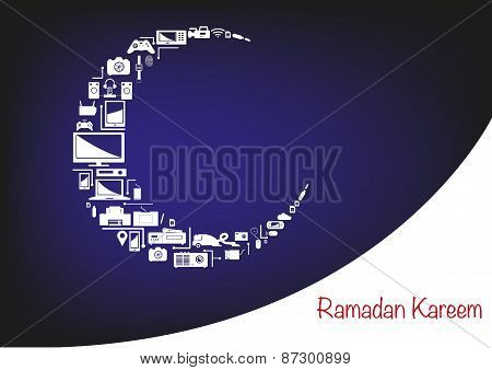 Crescent Moon Made of Electronic Products for Ramadan Sale Promotions