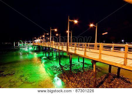 Pier of Baquerizo Moreno Port in Galapagos at night
