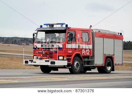 Classic Scania Fire Truck On The Road