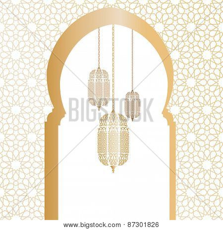 Arabic architectural illustration with arch and arabic lanterns