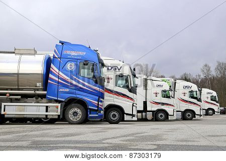Five Volvo Trucks Line Up