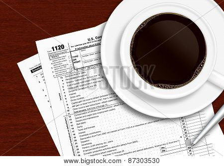 Tax Form 1120 With Pen And Coffee On Wooden Table