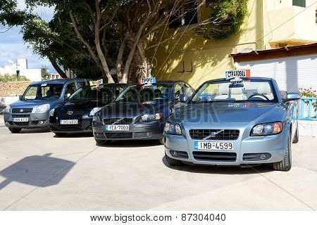 Crete, Greece - May 15: The Cars For Rent Are Waiting For Clients Near Rent Office, On May 15, 2014,