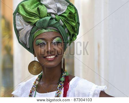 Brazilian Woman Dressed In Traditional Baiana Attire In Pelourinho, Salvador, Bahia, Brazil