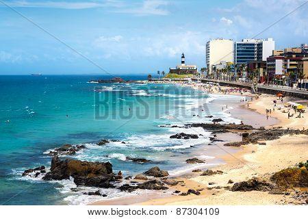 Barra Beach And Farol Da Barra In Salvador, Bahia, Brazil
