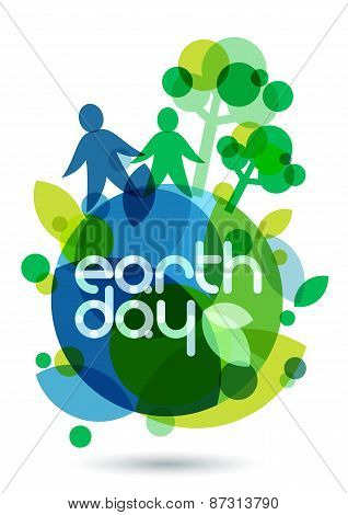 Two People Silhouettes And Green Trees On The Earth. Abstract Vector Illustration. Ecology Backgroun