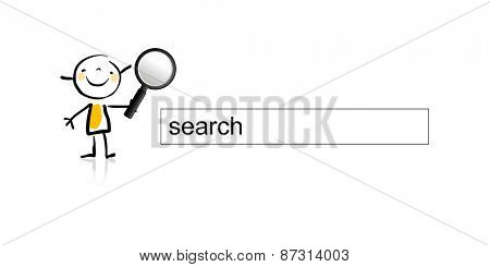 Personalized  internet search engine box, with little girl, kid, holding a magnifying glass. Search the web concept, vector illustration.