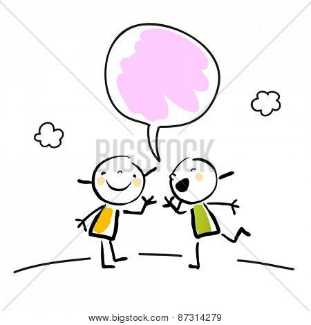 Two little girls talking, speaking and listening, with a speech balloon.