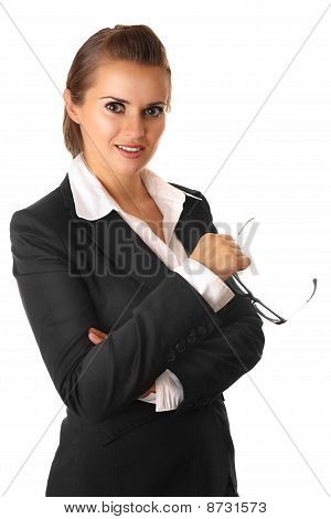 serious modern business woman with glasses isolated on white