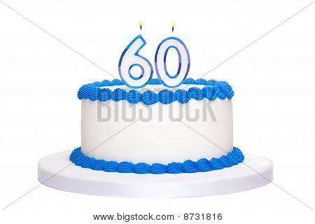 Birthday cake decorated with blue frosting and number sixy candles poster