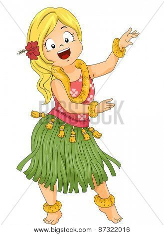 Illustration of a Little Girl Wearing a Grass Skirt and Doing the Hula Dance