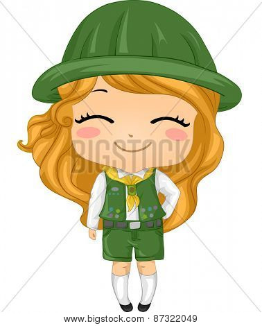 Illustration of a Little Girl Wearing a Girl Scout Costume