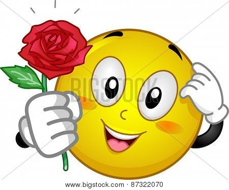Mascot Illustration of an Embarrassed Smiley Giving a Red Rose poster