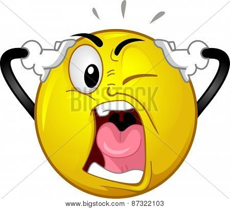 Mascot Illustration of an Exasperated Smiley Losing its Wits