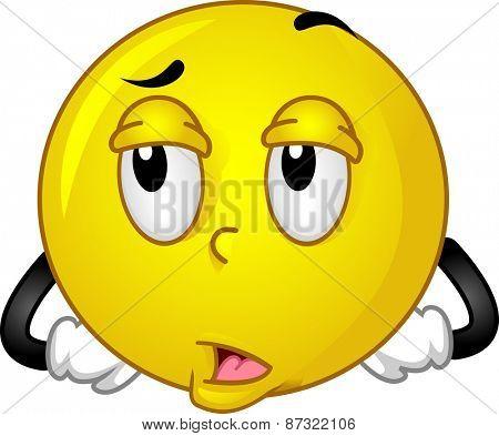 Mascot Illustration of a Smiley Rolling its Eyeballs