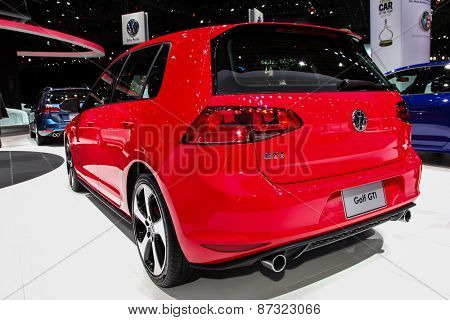 NEW YORK - APRIL 1: Volkswagen exhibit before Volkswagen Golf GTI at the 2015 New York International Auto Show during Press day,  public show is running from April 3-12, 2015 in New York, NY.