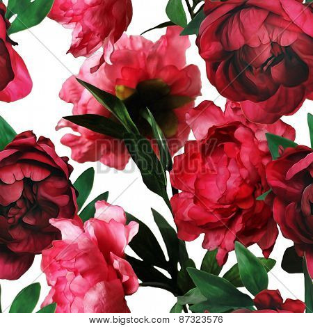 art vintage watercolor floral seamless pattern with red peonies isolated on white background