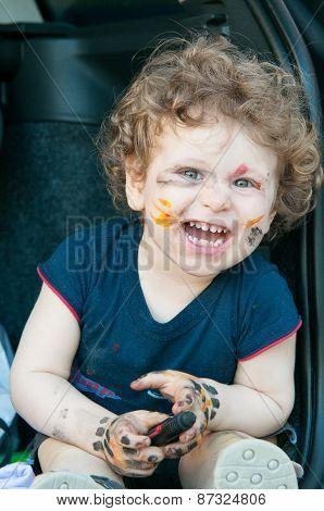 Caucasian boy laughing