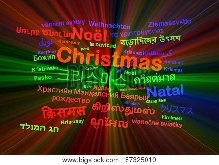 ackground concept wordcloud multilanguage international many language illustration of translation christmas glowing light