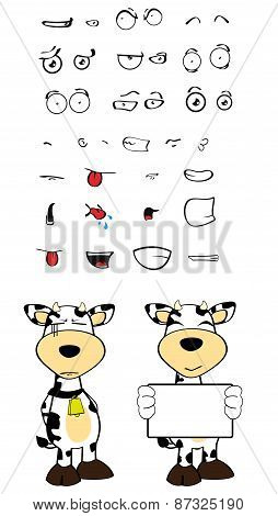 sad cow cartoon expressions set