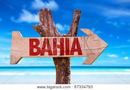 Bahia wooden sign with beach background