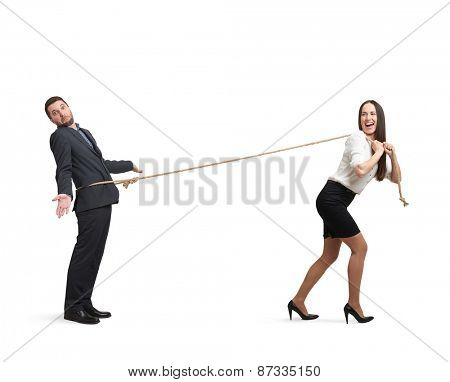 laughing woman lugging man in perplexity. isolated on white background