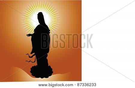 Black buddha silhouette