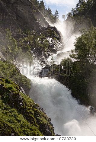 Close View Of A Huge Waterfall In Norway