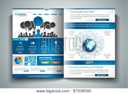 Vector bi-fold brochure template design or flyer layout to use for business applications, magazines, advertising, product sheets, item notes, event flyers or meeting invitations.