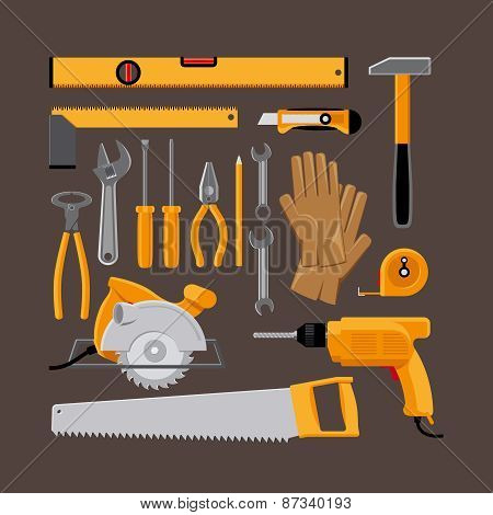 Hand tools icons in flat style