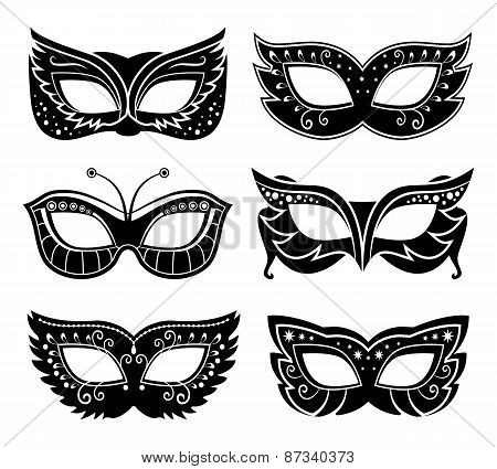 Black carnival masks