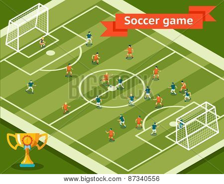 Soccer game. Football field and players