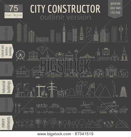 City map generator. Elements for creating your perfect city. Colour version