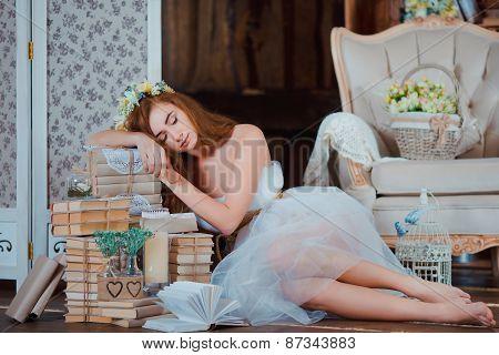 Rude Princess Girl In Wood Vintage Interior